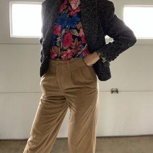 Denim - Vintage High Waist Cropped Tan Corduroy Pants 27